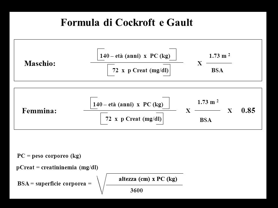 Formula di Cockroft e Gault