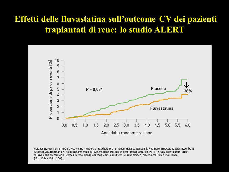 Effetti delle fluvastatina sull'outcome CV dei pazienti