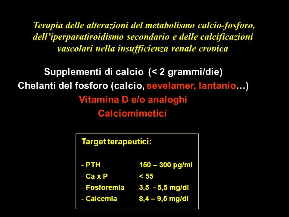 Terapia delle alterazioni del metabolismo calcio-fosforo,