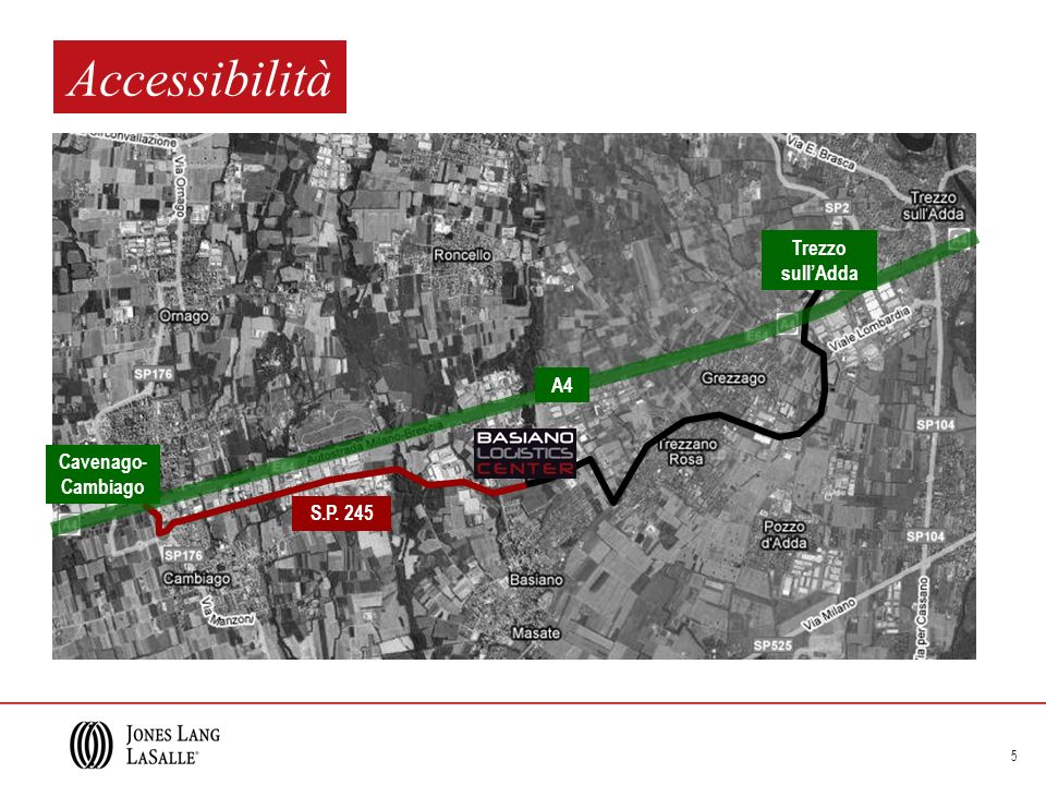 Accessibilità Trezzo sull'Adda A4 Cavenago-Cambiago S.P. 245
