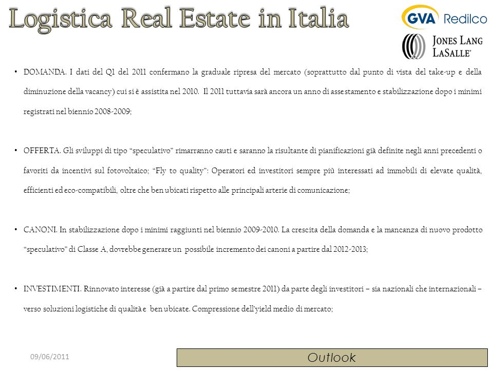 Logistica Real Estate in Italia
