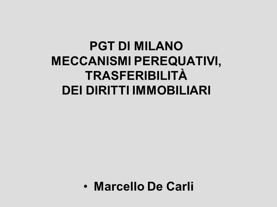 PGT DI MILANO MECCANISMI PEREQUATIVI, TRASFERIBILITÀ DEI DIRITTI IMMOBILIARI
