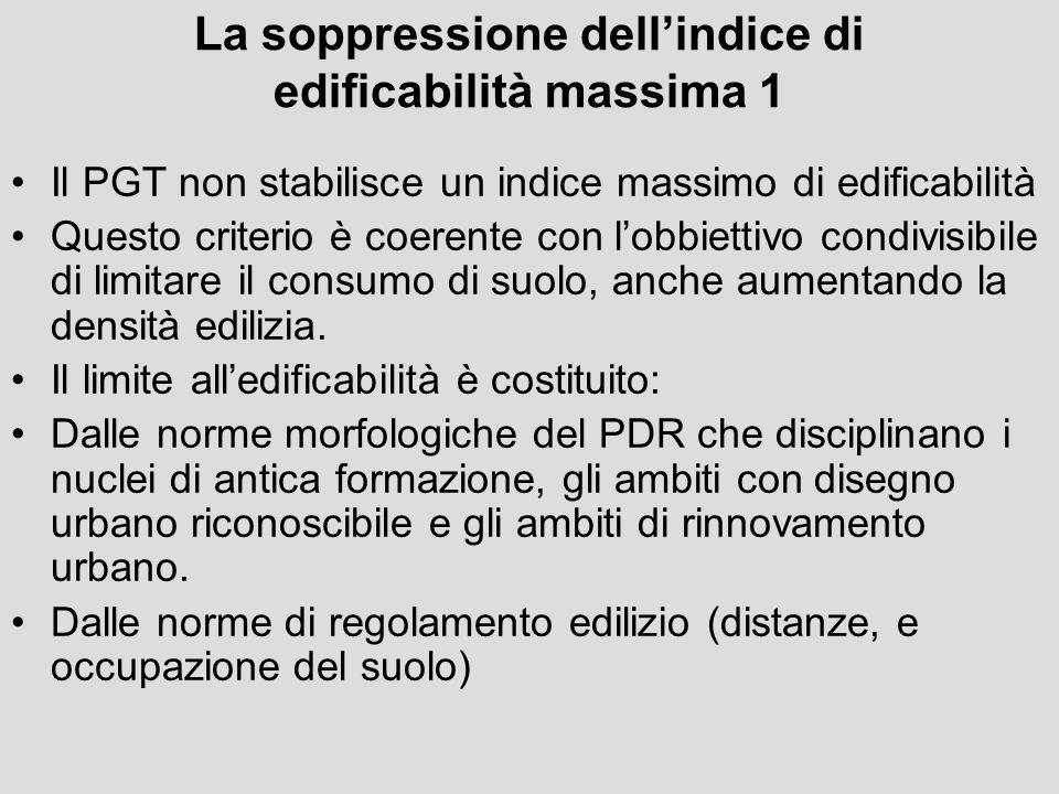 La soppressione dell'indice di edificabilità massima 1