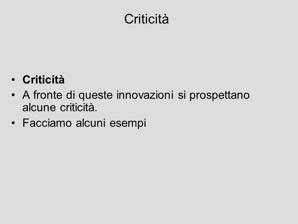 Criticità Criticità. A fronte di queste innovazioni si prospettano alcune criticità.