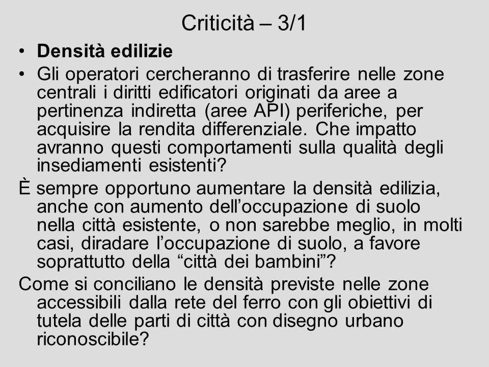 Criticità – 3/1 Densità edilizie
