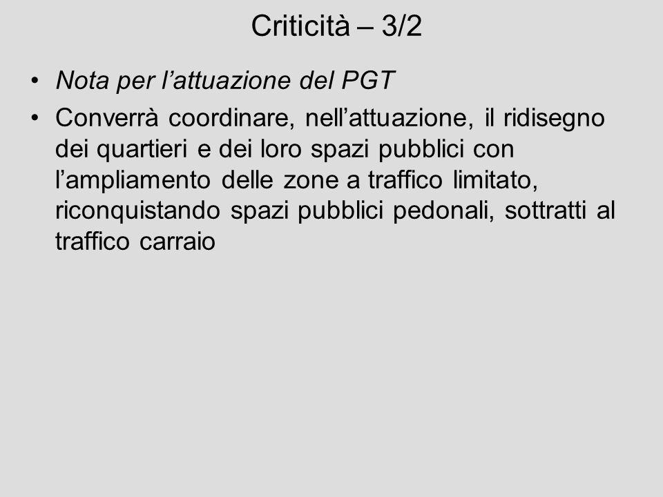 Criticità – 3/2 Nota per l'attuazione del PGT