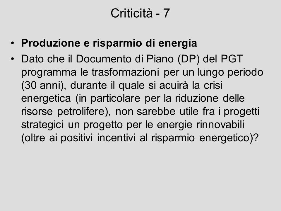 Criticità - 7 Produzione e risparmio di energia