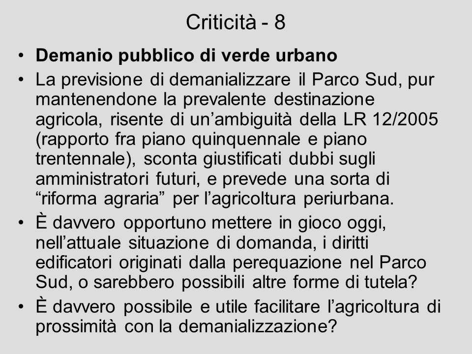 Criticità - 8 Demanio pubblico di verde urbano
