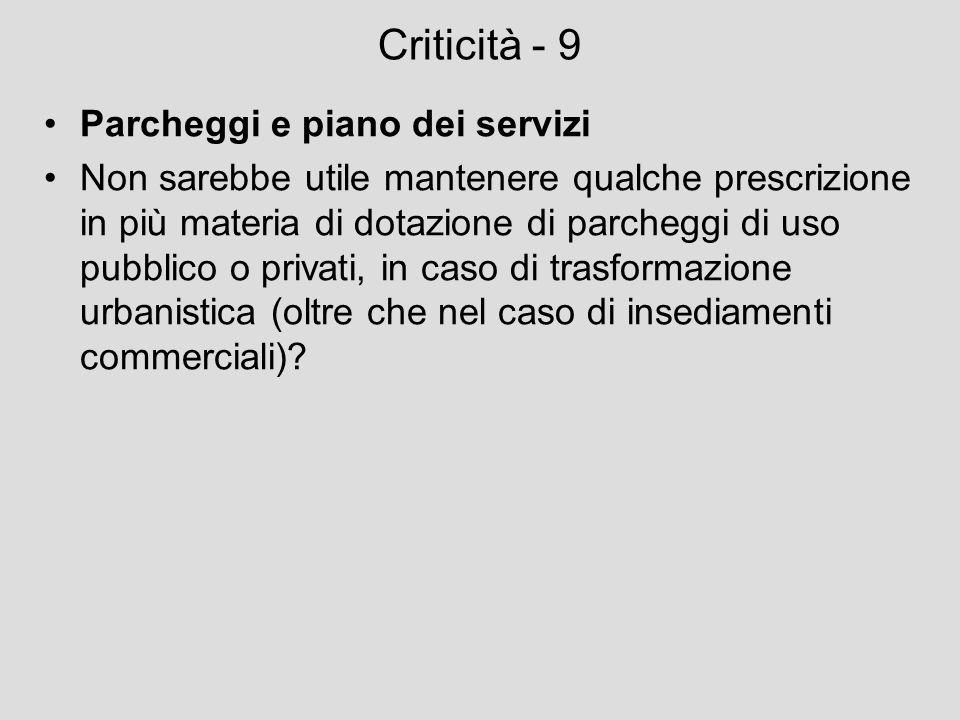 Criticità - 9 Parcheggi e piano dei servizi