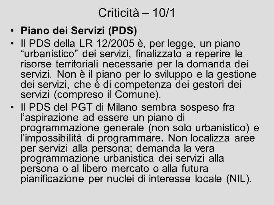 Criticità – 10/1 Piano dei Servizi (PDS)