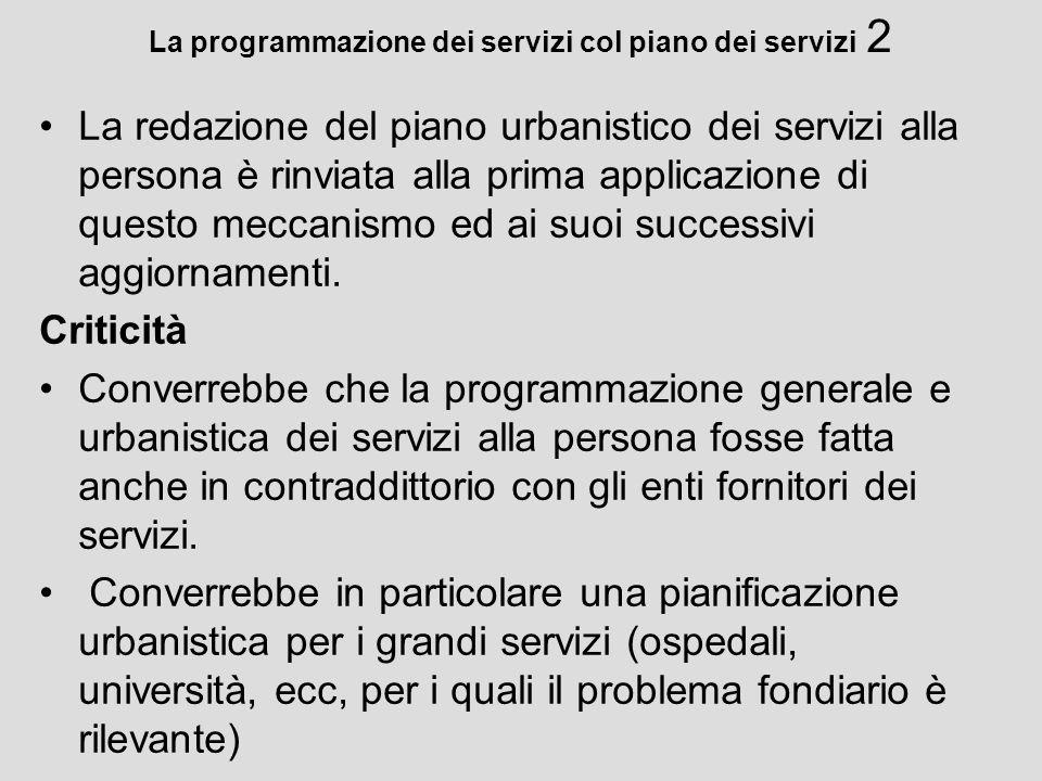 La programmazione dei servizi col piano dei servizi 2