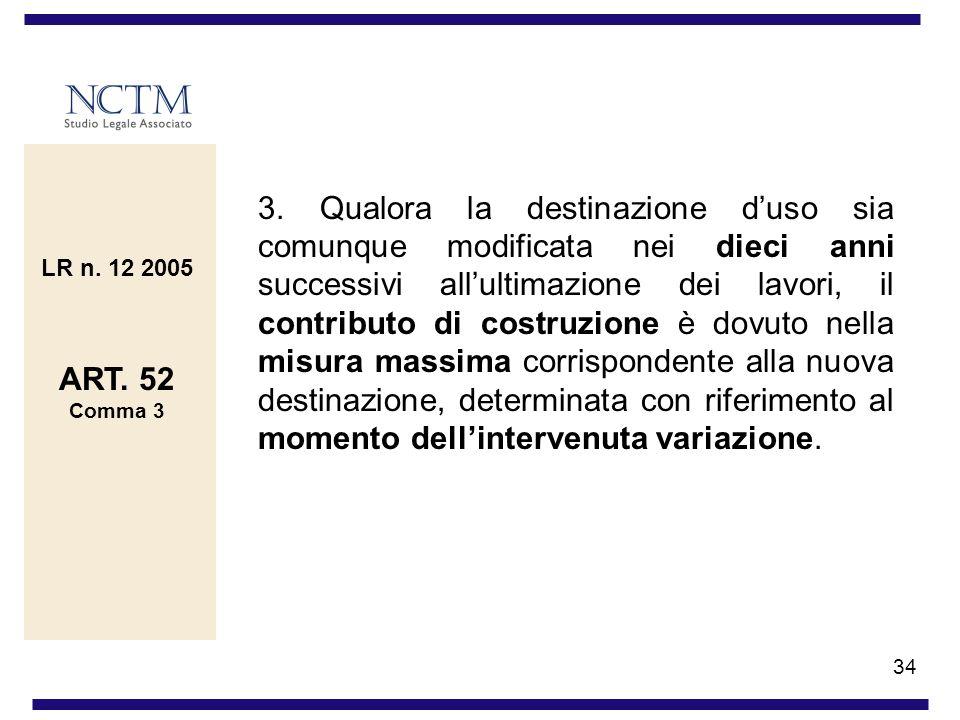 3. Qualora la destinazione d'uso sia comunque modificata nei dieci anni successivi all'ultimazione dei lavori, il contributo di costruzione è dovuto nella misura massima corrispondente alla nuova destinazione, determinata con riferimento al momento dell'intervenuta variazione.