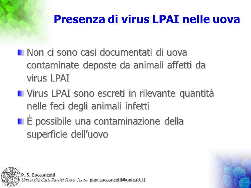 Presenza di virus LPAI nelle uova