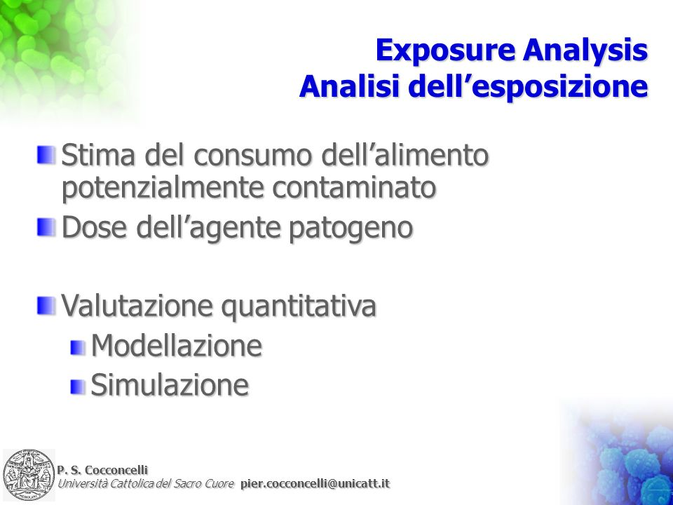 Exposure Analysis Analisi dell'esposizione