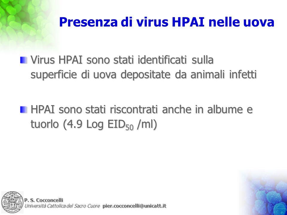 Presenza di virus HPAI nelle uova