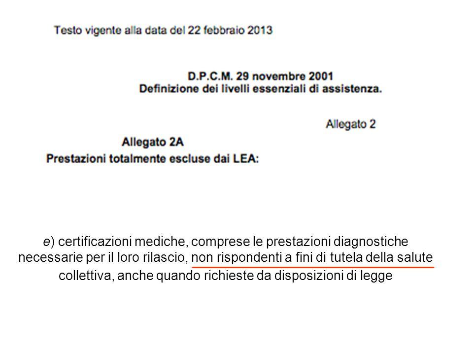 e) certificazioni mediche, comprese le prestazioni diagnostiche necessarie per il loro rilascio, non rispondenti a fini di tutela della salute collettiva, anche quando richieste da disposizioni di legge