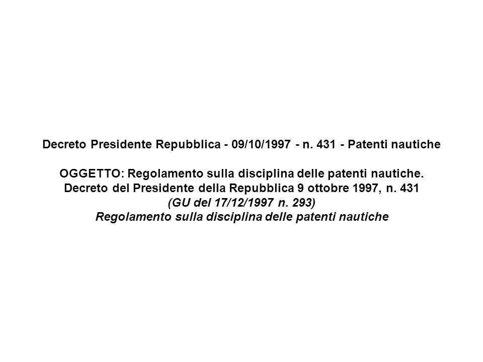 Decreto Presidente Repubblica - 09/10/1997 - n