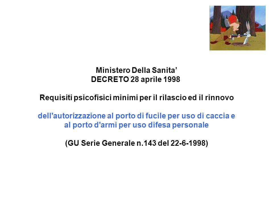 Ministero Della Sanita' DECRETO 28 aprile 1998 Requisiti psicofisici minimi per il rilascio ed il rinnovo dell autorizzazione al porto di fucile per uso di caccia e al porto d armi per uso difesa personale (GU Serie Generale n.143 del 22-6-1998)