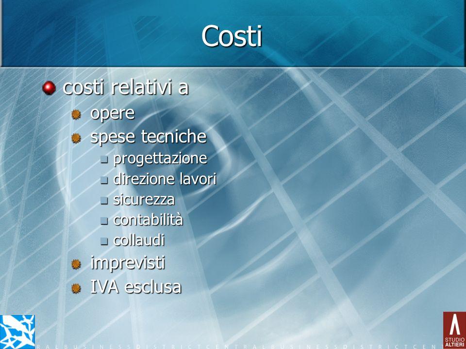 Costi costi relativi a opere spese tecniche imprevisti IVA esclusa