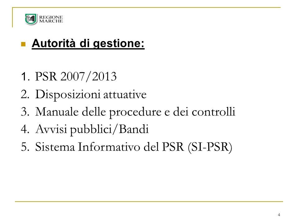 Disposizioni attuative Manuale delle procedure e dei controlli