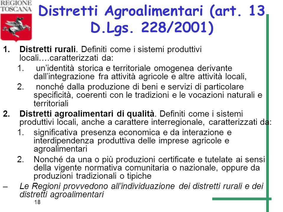 Distretti Agroalimentari (art. 13 D.Lgs. 228/2001)