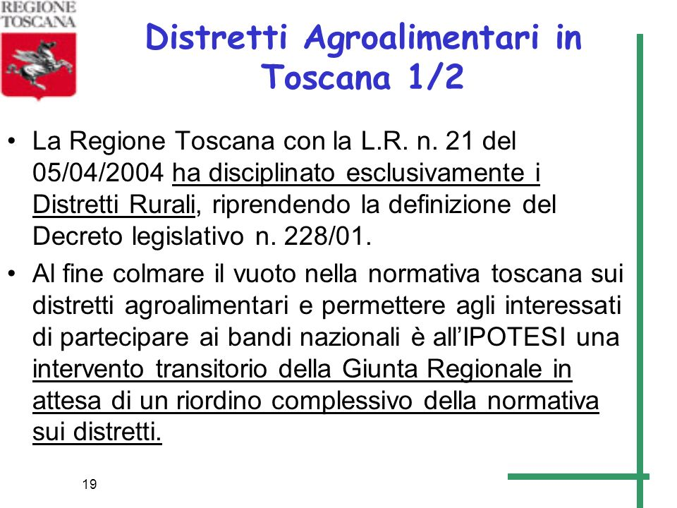 Distretti Agroalimentari in Toscana 1/2