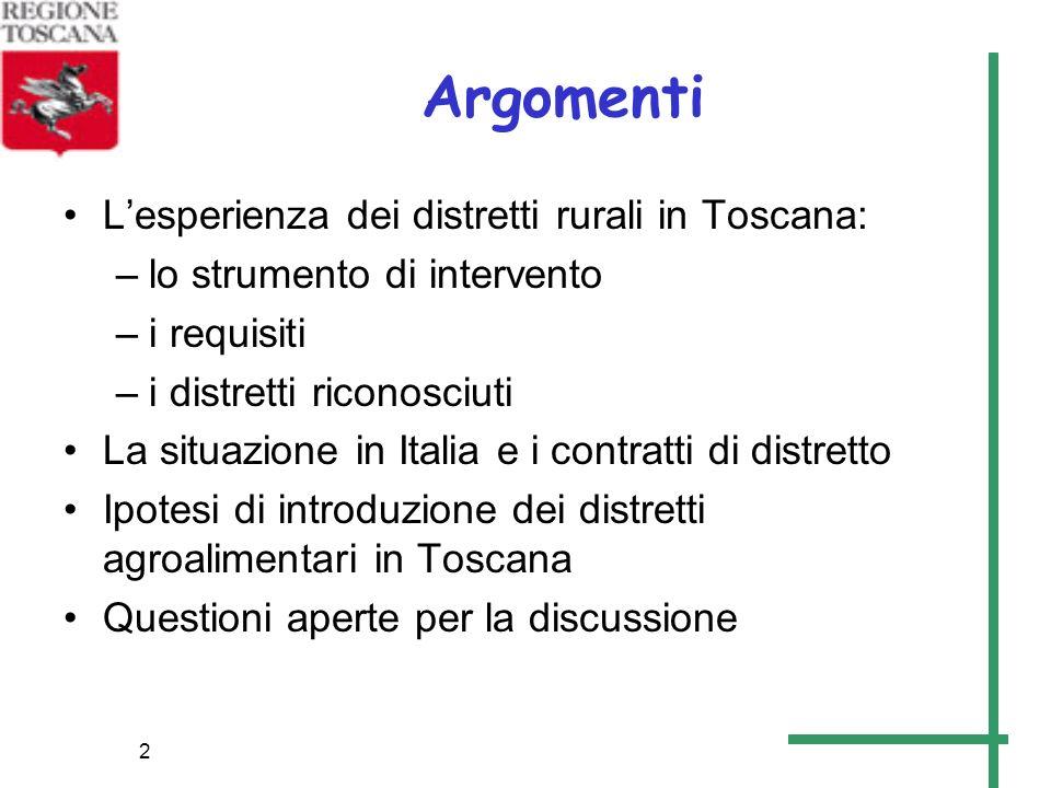 Argomenti L'esperienza dei distretti rurali in Toscana: