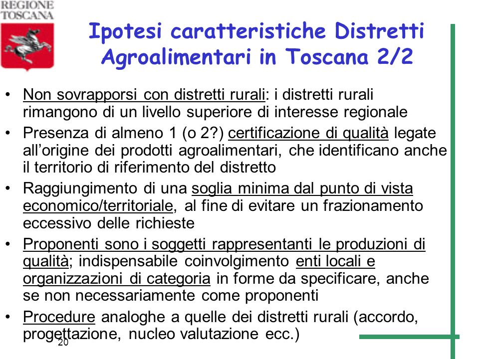 Ipotesi caratteristiche Distretti Agroalimentari in Toscana 2/2