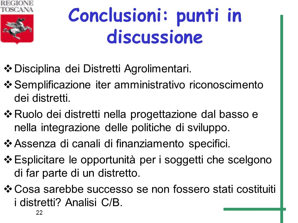 Conclusioni: punti in discussione