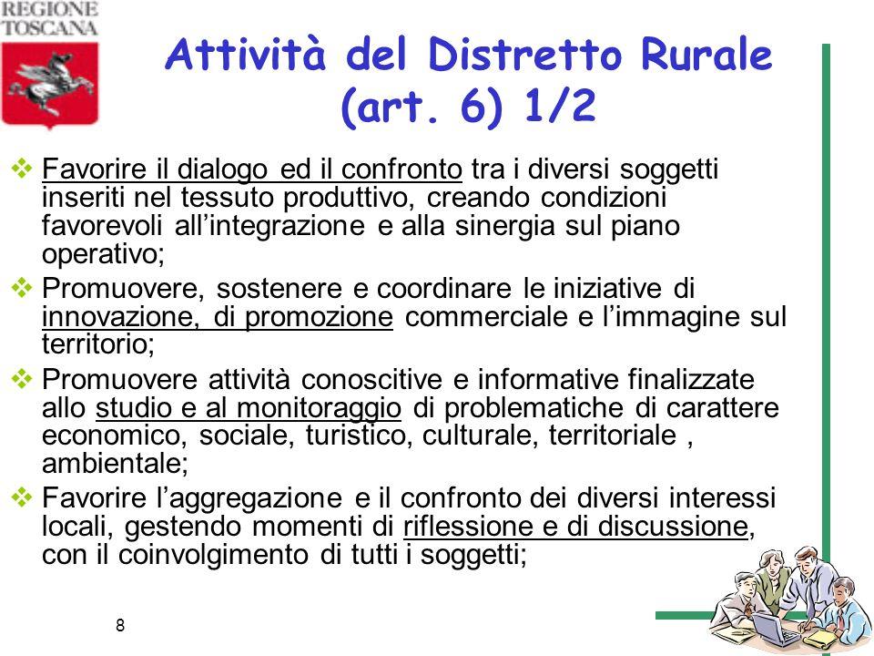 Attività del Distretto Rurale (art. 6) 1/2