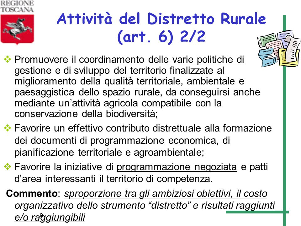 Attività del Distretto Rurale (art. 6) 2/2