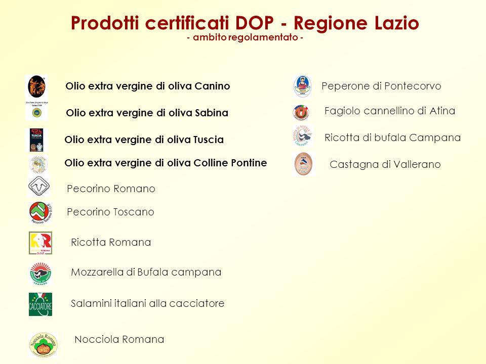 Prodotti certificati DOP - Regione Lazio - ambito regolamentato -