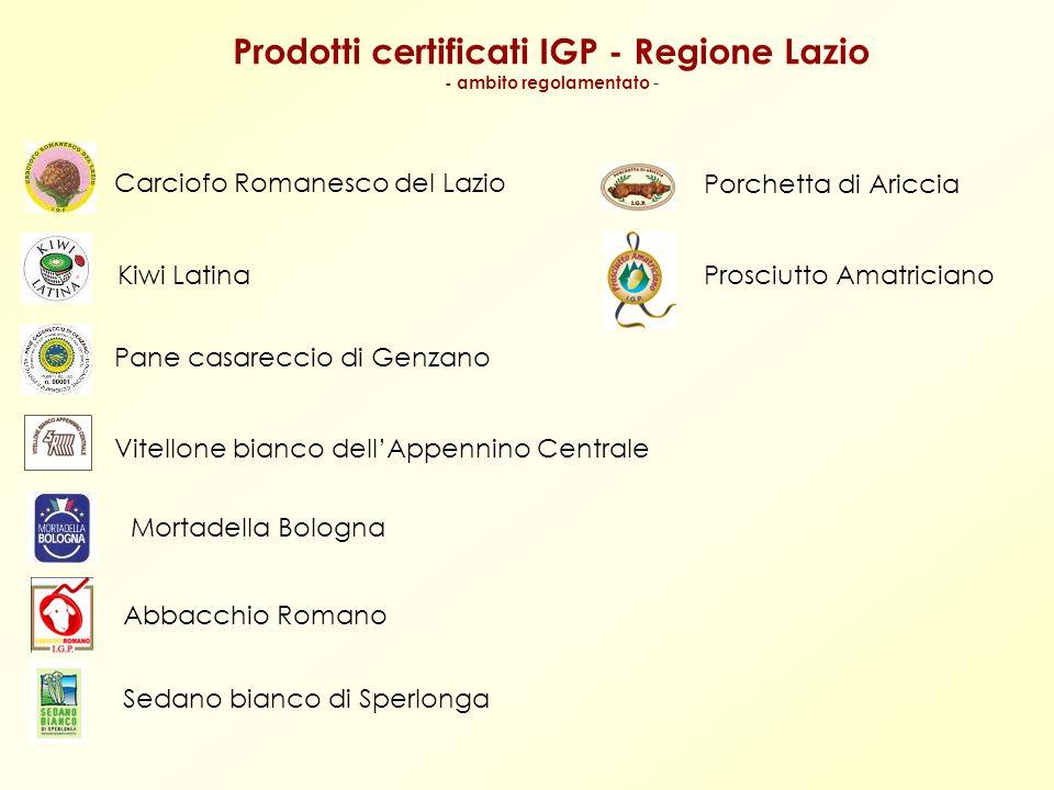 Prodotti certificati IGP - Regione Lazio - ambito regolamentato -