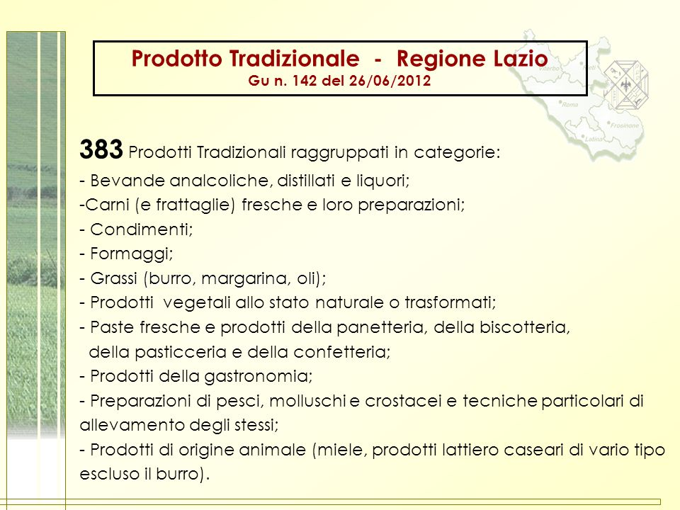Prodotto Tradizionale - Regione Lazio