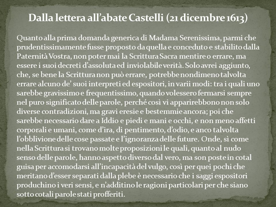 Dalla lettera all'abate Castelli (21 dicembre 1613)