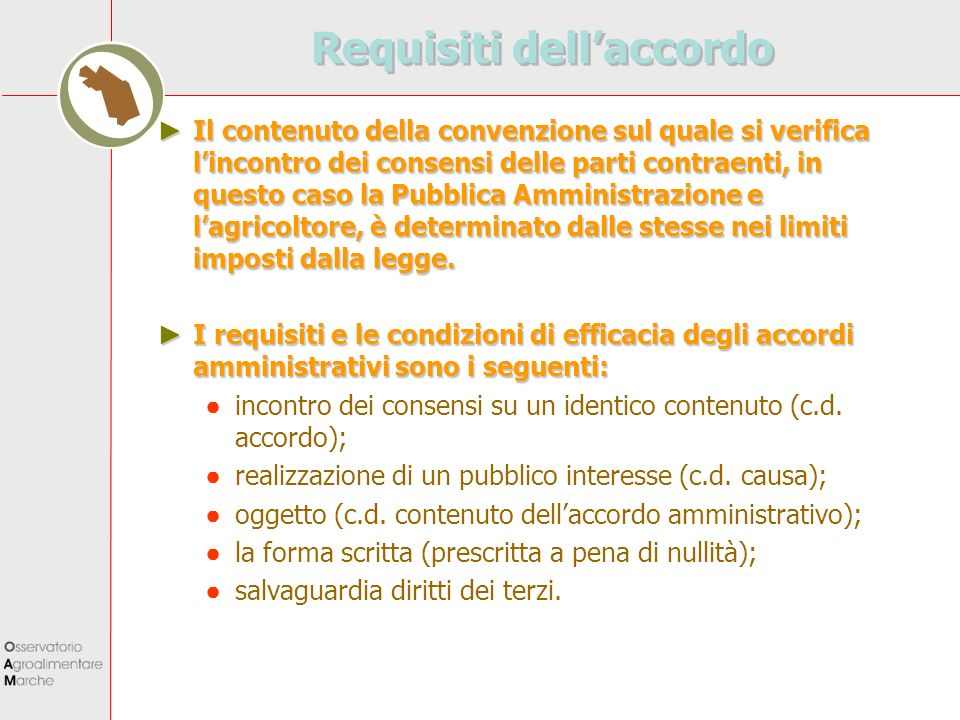 Requisiti dell'accordo