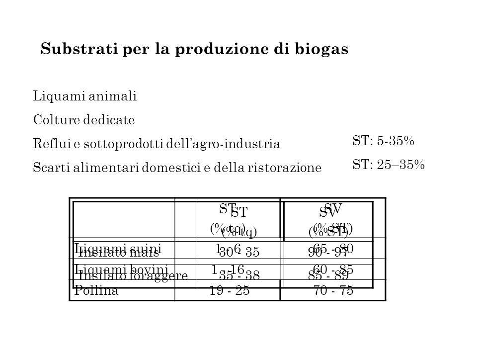 Substrati per la produzione di biogas