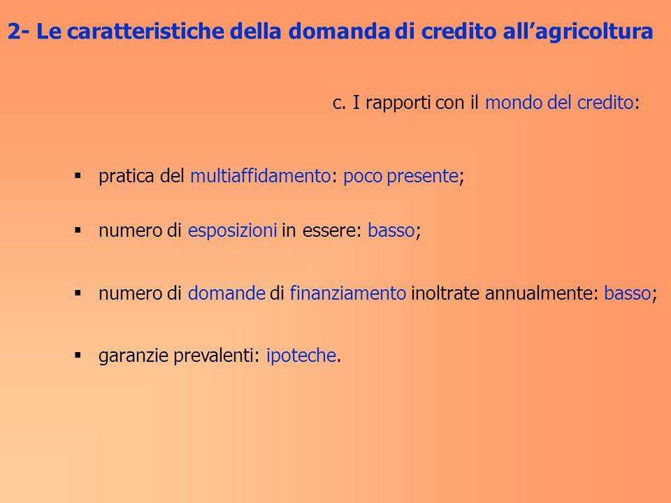 2- Le caratteristiche della domanda di credito all'agricoltura
