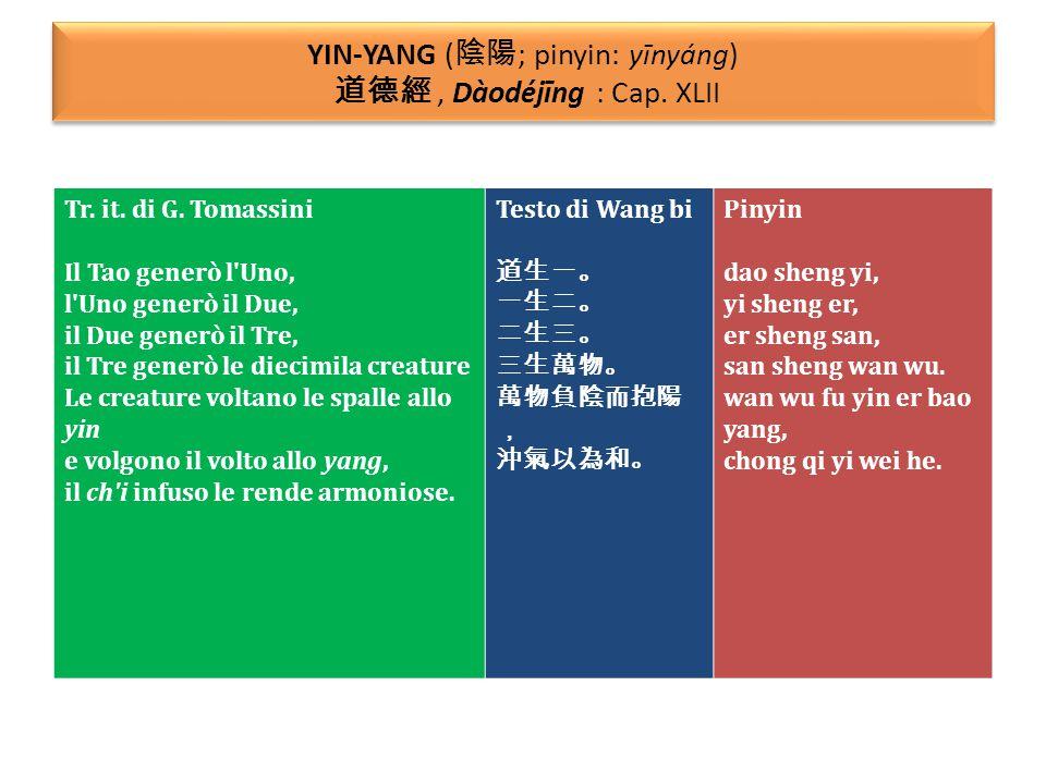 YIN-YANG (陰陽; pinyin: yīnyáng) 道德經 , Dàodéjīng : Cap. XLII