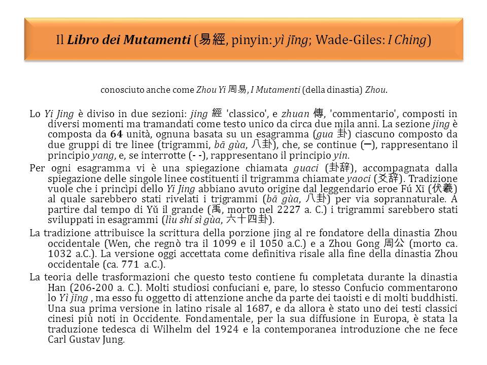 Il Libro dei Mutamenti (易經, pinyin: yì jīng; Wade-Giles: I Ching)