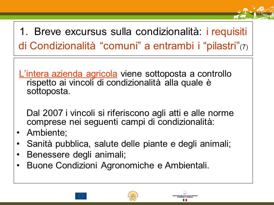 1. Breve excursus sulla condizionalità: i requisiti di Condizionalità comuni a entrambi i pilastri (7)