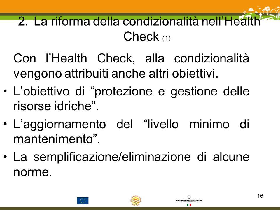 La riforma della condizionalità nell'Health Check (1)