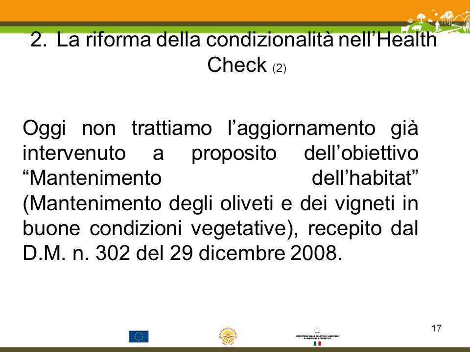 La riforma della condizionalità nell'Health Check (2)