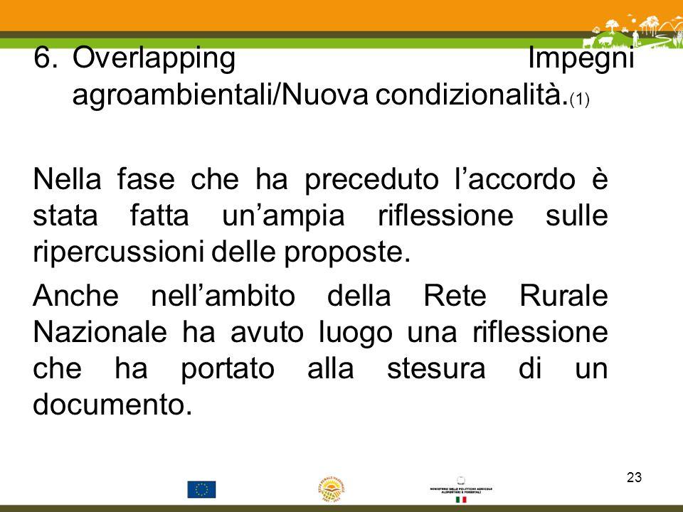 Overlapping Impegni agroambientali/Nuova condizionalità.(1)