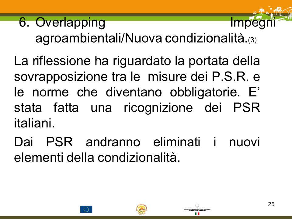 Overlapping Impegni agroambientali/Nuova condizionalità.(3)