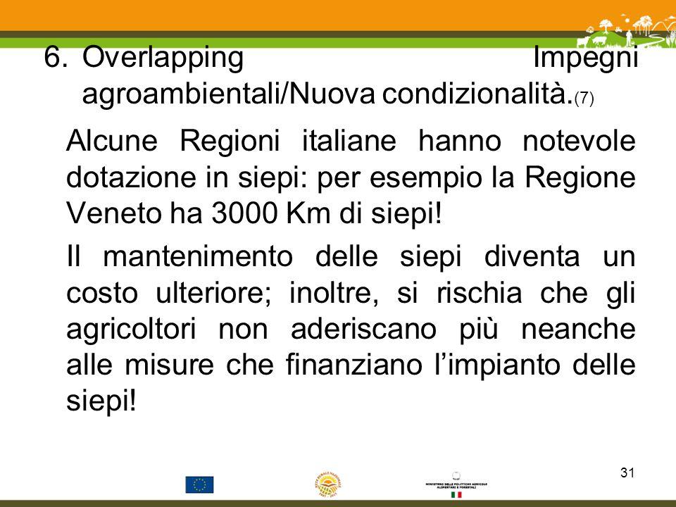 Overlapping Impegni agroambientali/Nuova condizionalità.(7)