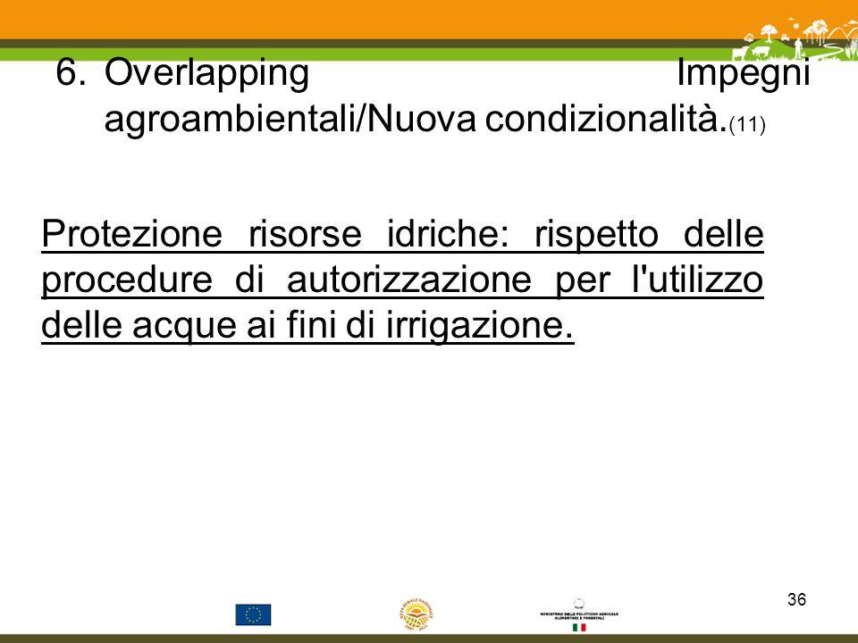 Overlapping Impegni agroambientali/Nuova condizionalità.(11)
