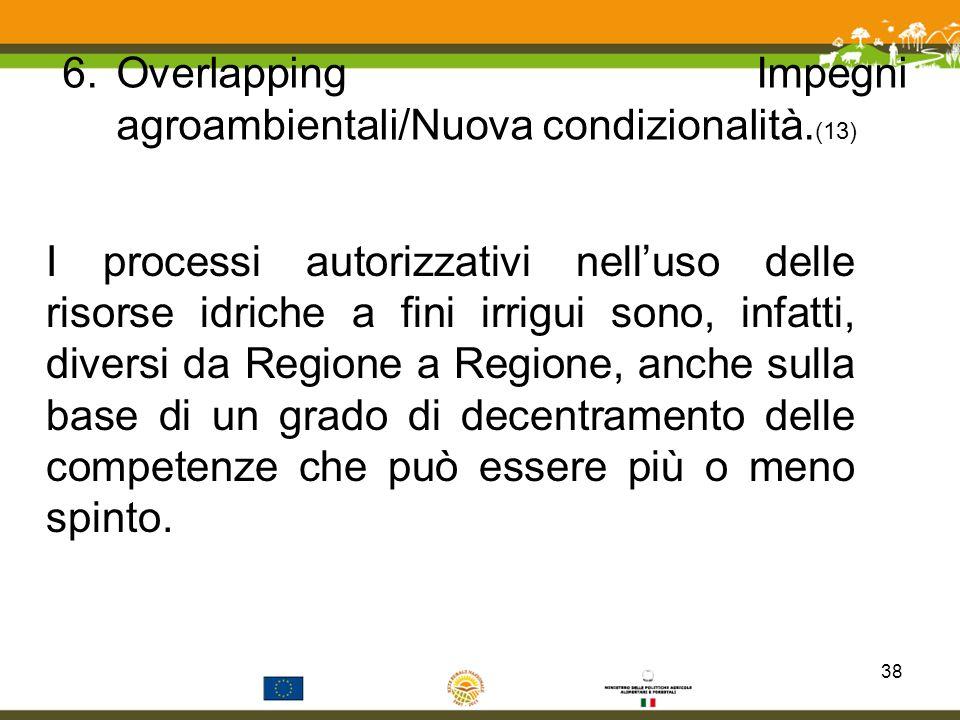Overlapping Impegni agroambientali/Nuova condizionalità.(13)