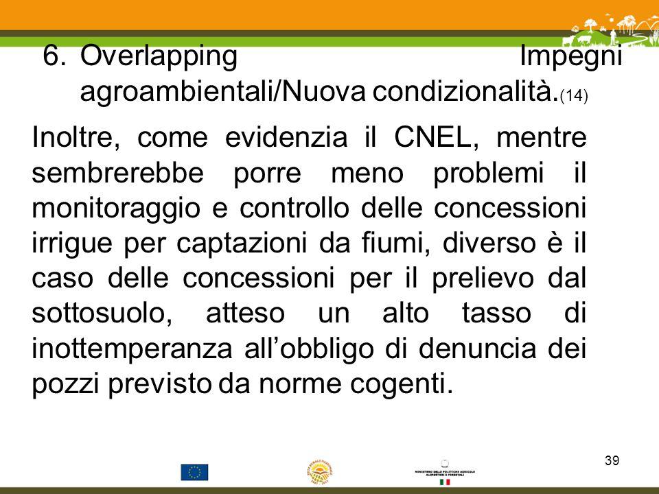 Overlapping Impegni agroambientali/Nuova condizionalità.(14)