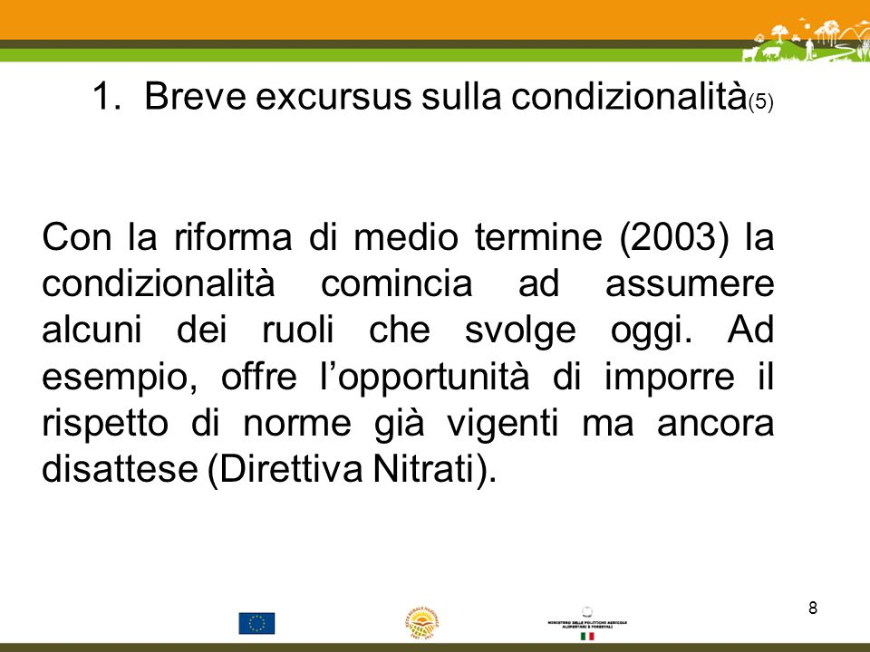 1. Breve excursus sulla condizionalità(5)